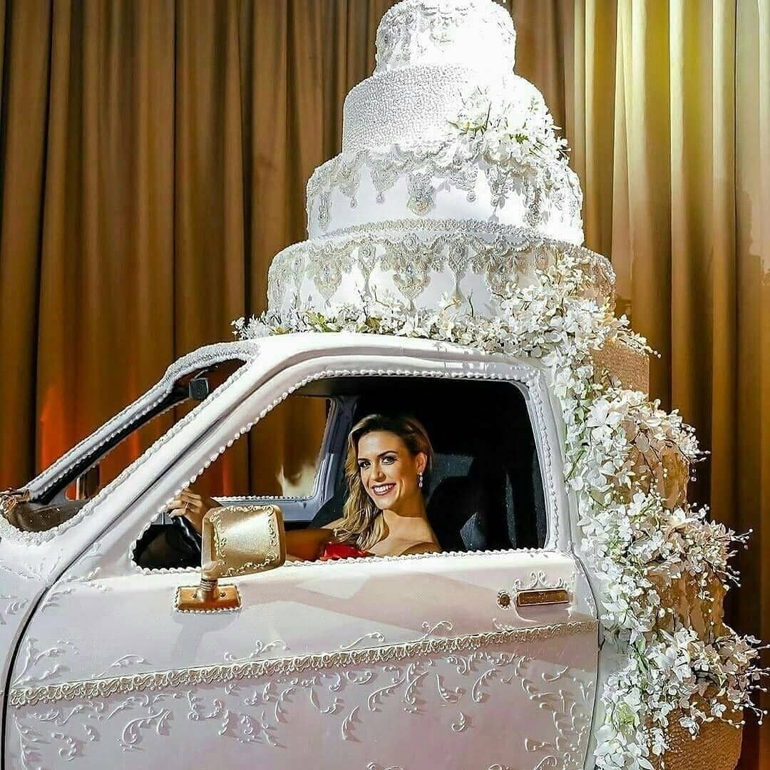 Giant car theme wedding cake