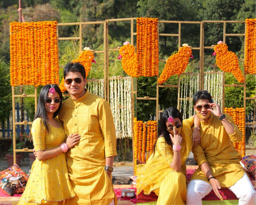 Haldi outfits of bride & groom