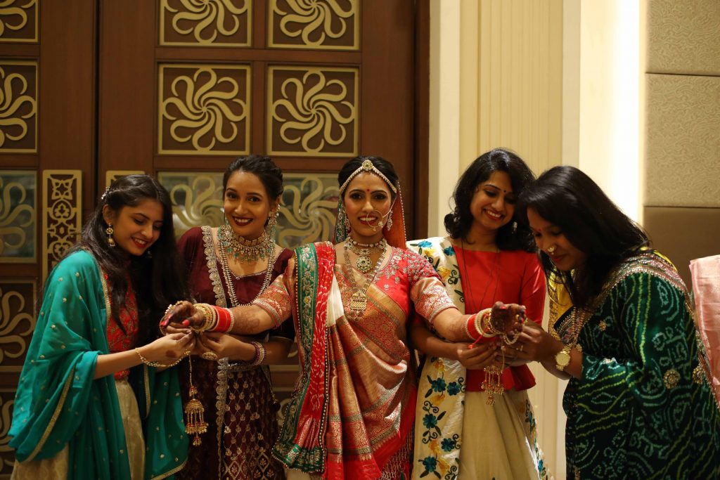 Indian bride & bridesmaids wedding outfits