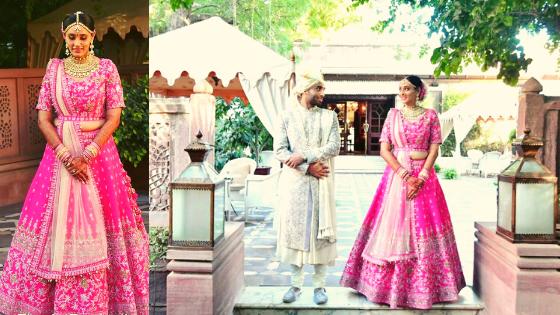Destination wedding in Jodhpur with a pretty bride in pink lehenga