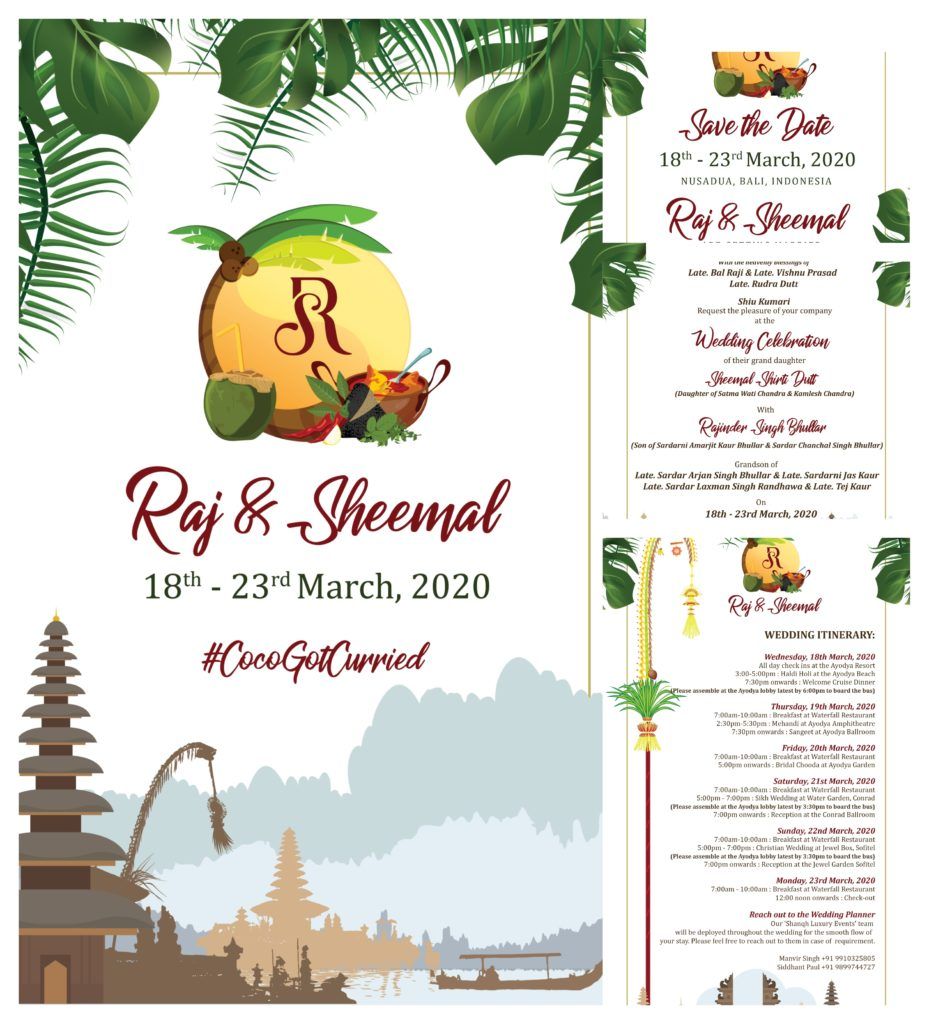 Bali theme wedding invitation