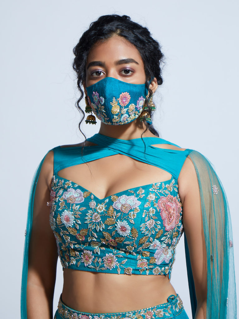Designer face masks coordinated with wedding outfits