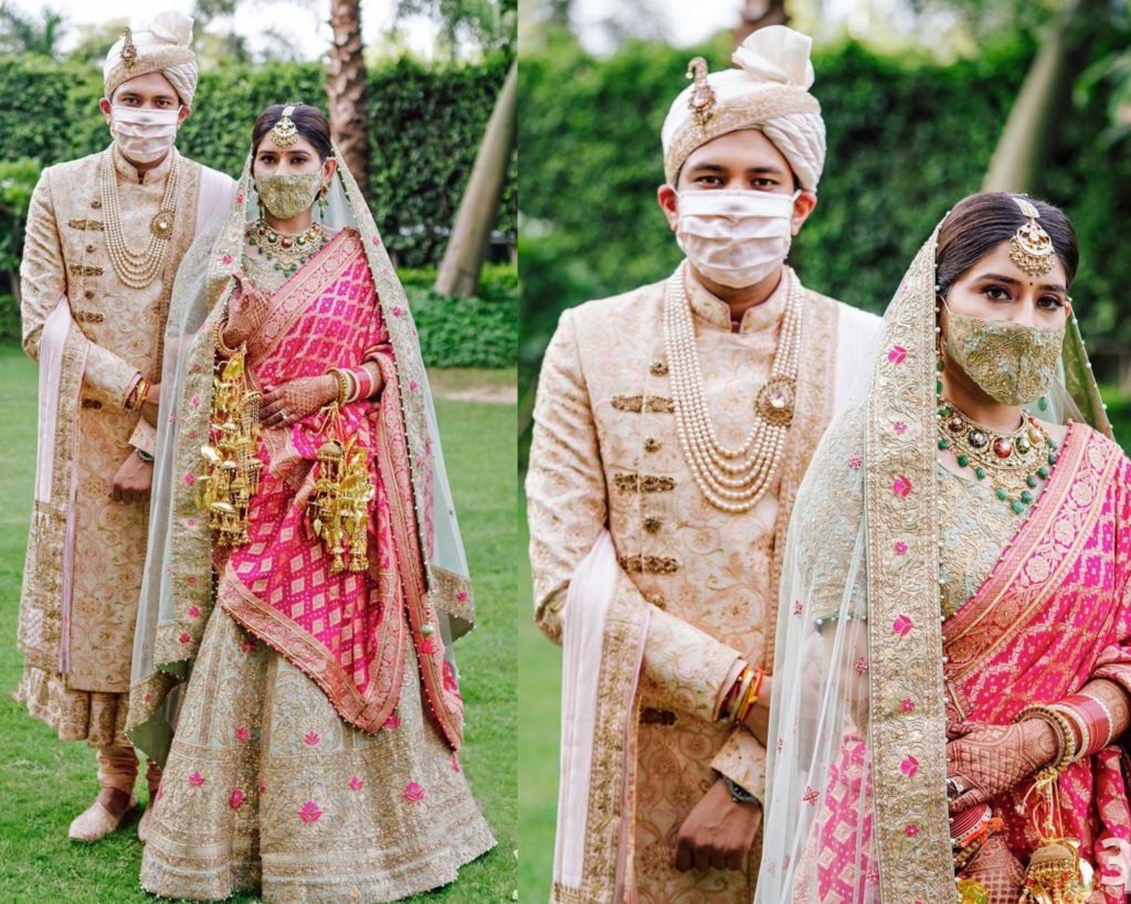Indian bride & Groom Coordinated wedding face masks with their wedding outfits