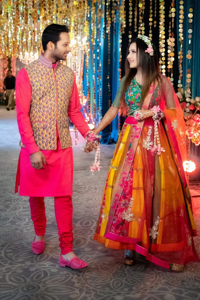 Indian groom wear & bride wear for Mehendi