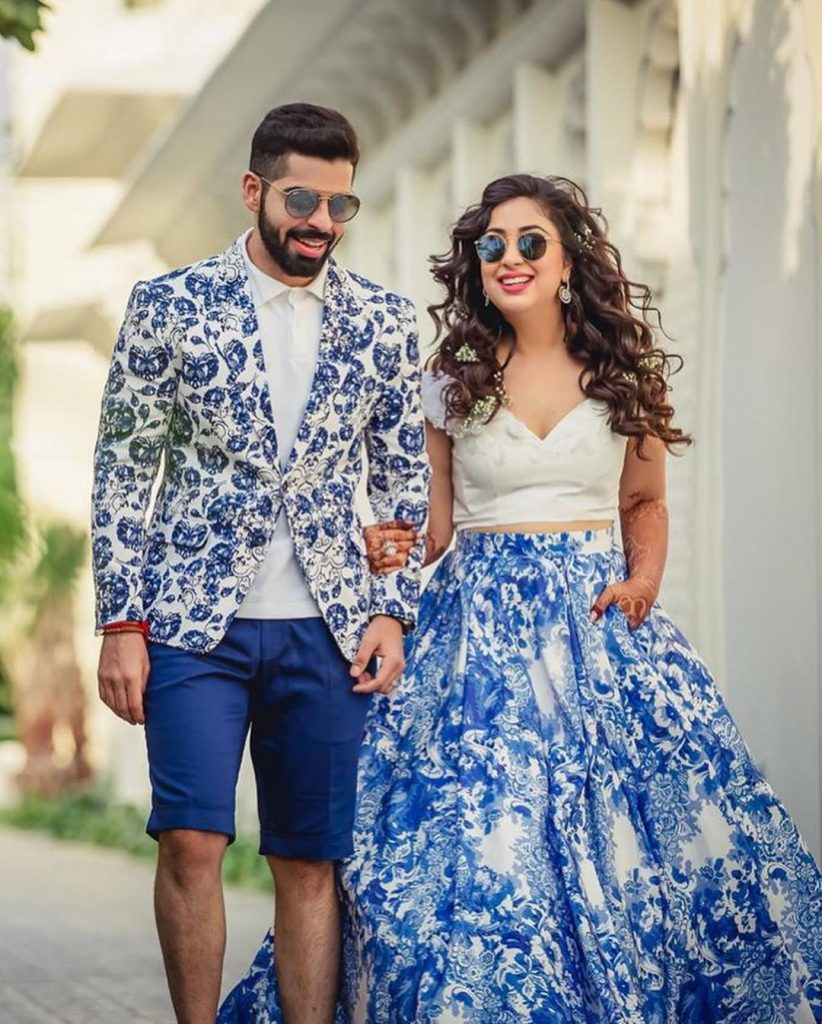 pool party outfits for bride & groom