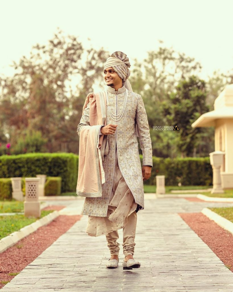 Indian groom in sherwani for wedding