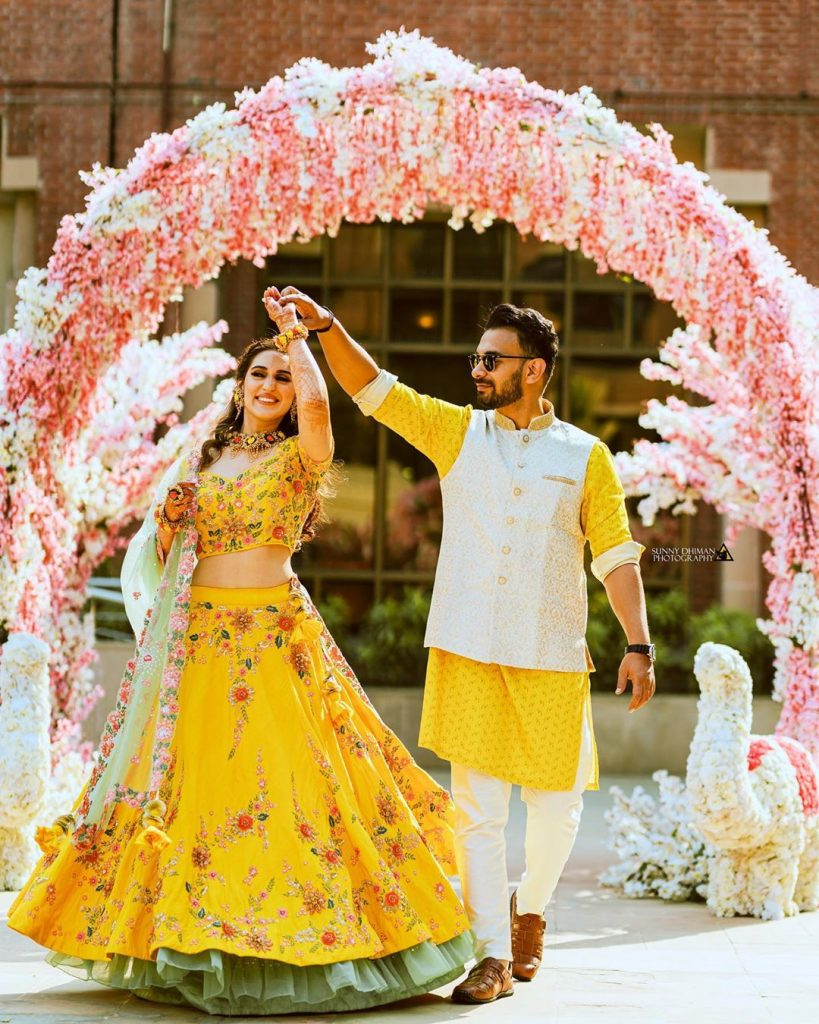 Indian groom & Indian bride haldi outfit