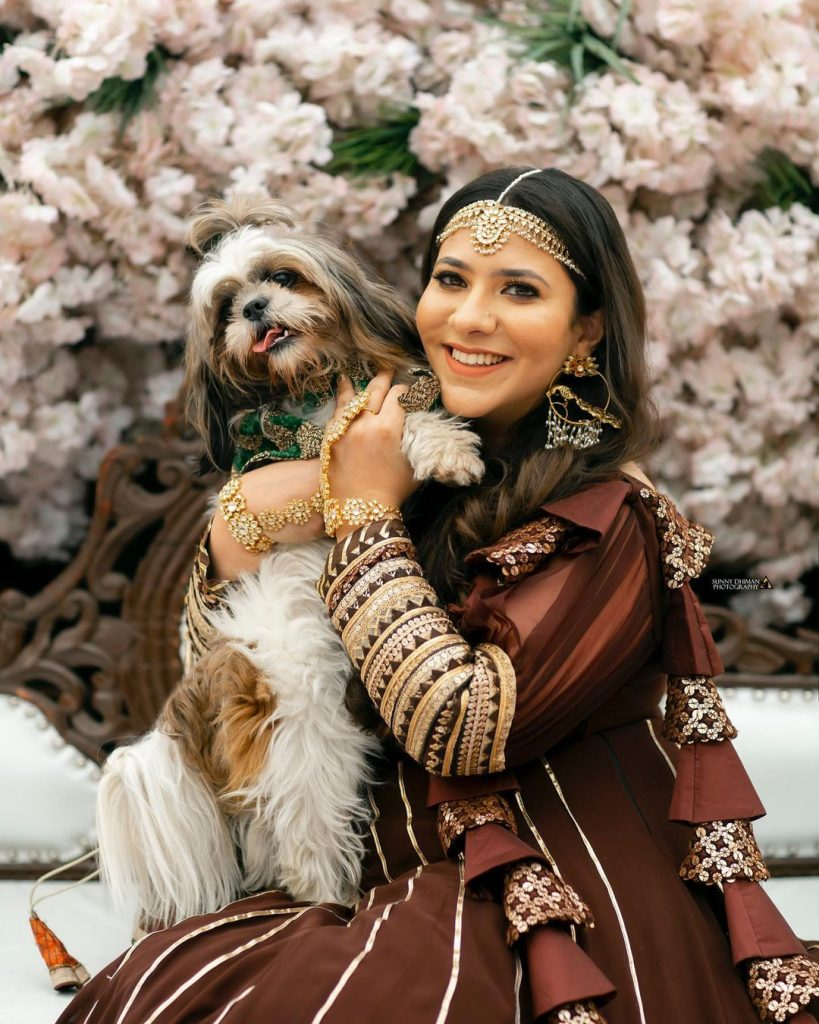 A Ludhiana bride with her Fur baby
