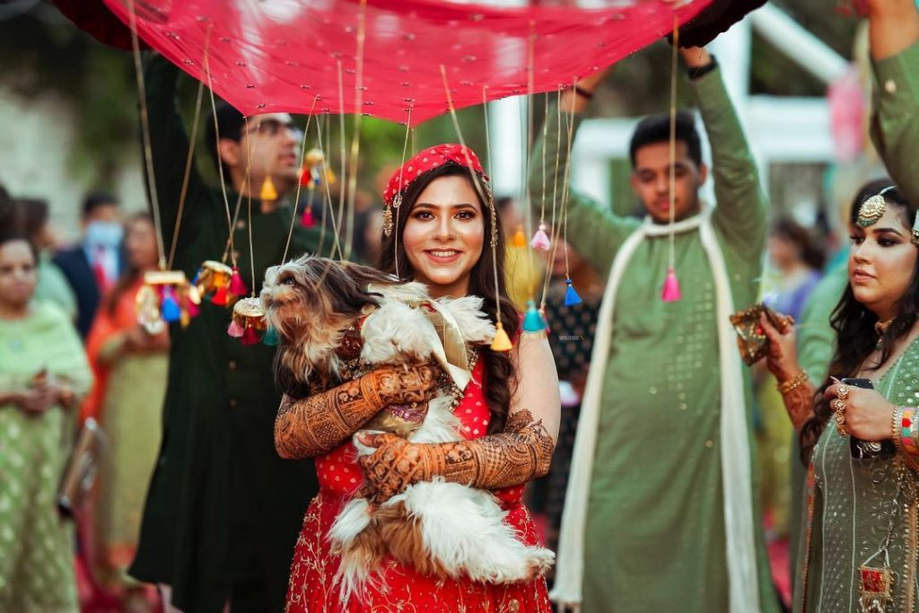 Bride with her pet for Anarkali Night