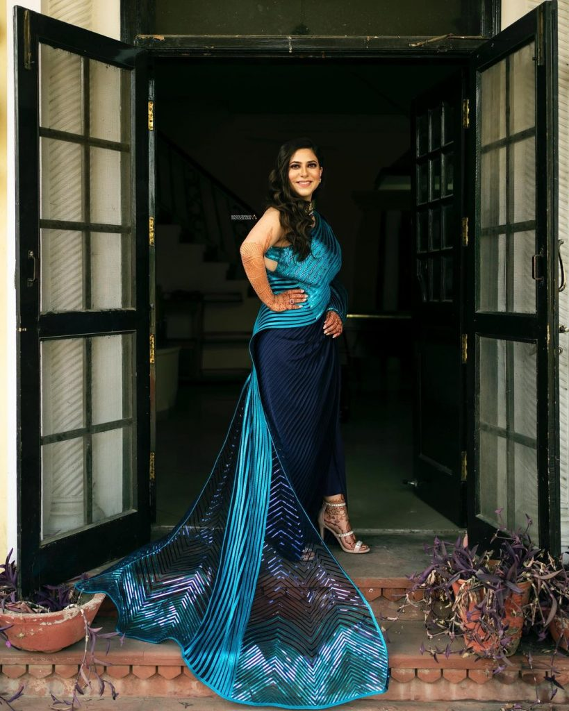 Bride in blue gown for Engagement