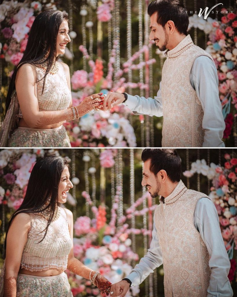 Yuzi Chahal & Dhanashree Verma in color coordinated outfits for Engagement