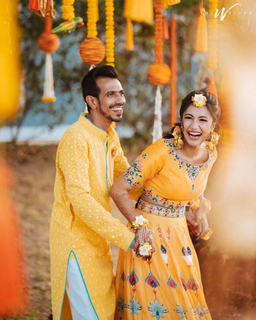 Dhanashree Verma & Yuzvendra Chahal in yellow outfits for Haldi