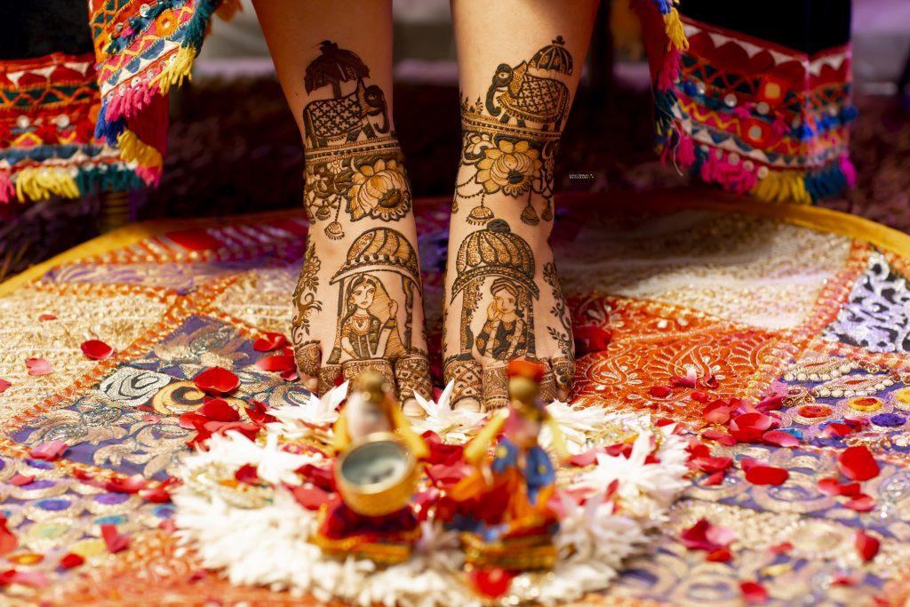 bridal feet henna design