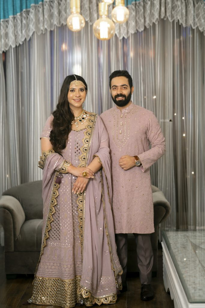 Bride & Groom in Lavender color -coordinated outfits for Bangle ceremony