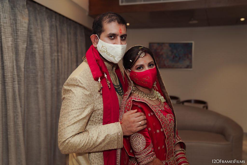 bride & groom wedding masks