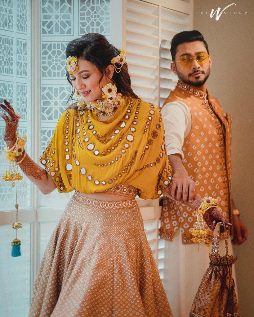 Gauahar Khan & Zaid Darbar Haldi ceremony outfits