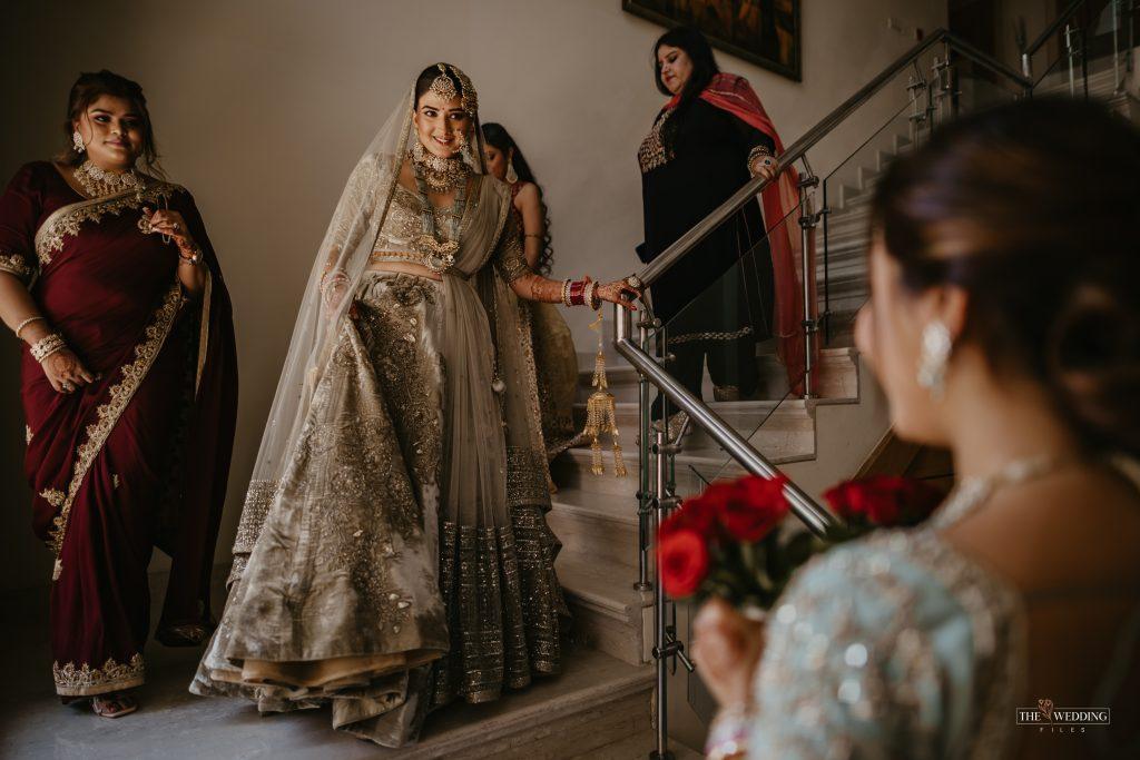 Delhi bride in olive green lehenga