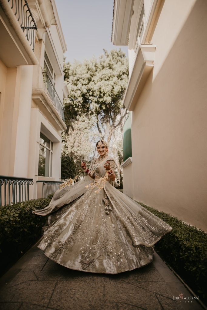 Delhi bride in olive green bridal lehenga