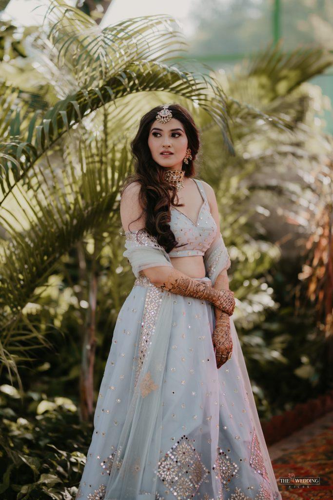 Delhi bride in sky blue lehenga for mehendi
