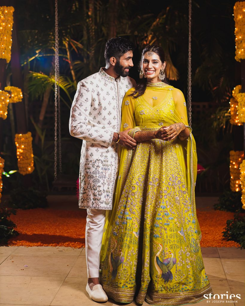 Indian Cricketer Jasprit Bumrah & Sanjana Ganesan in Anita Dongre for their Mehndi Ceremony