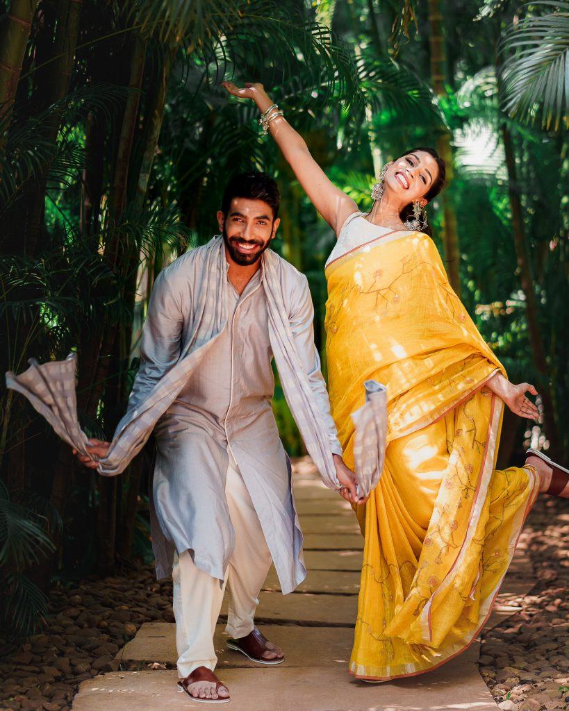 Jasprit Bumrah in Antar-Agni I Sanjana Ganesan in Anavila I Both wearing Aprajita Toor footwear for Haldi