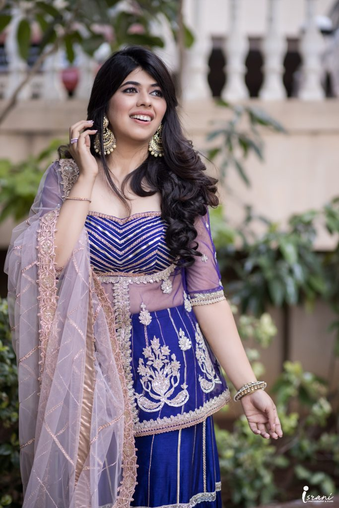 Blue sharara suit - bride - bhajan sandhya