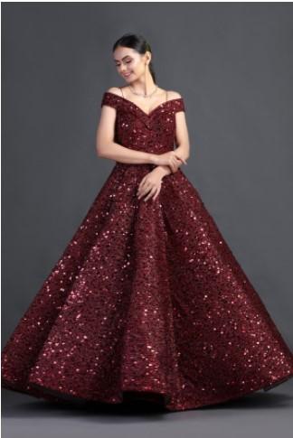 Buy Red Sequin Work Gown Onine