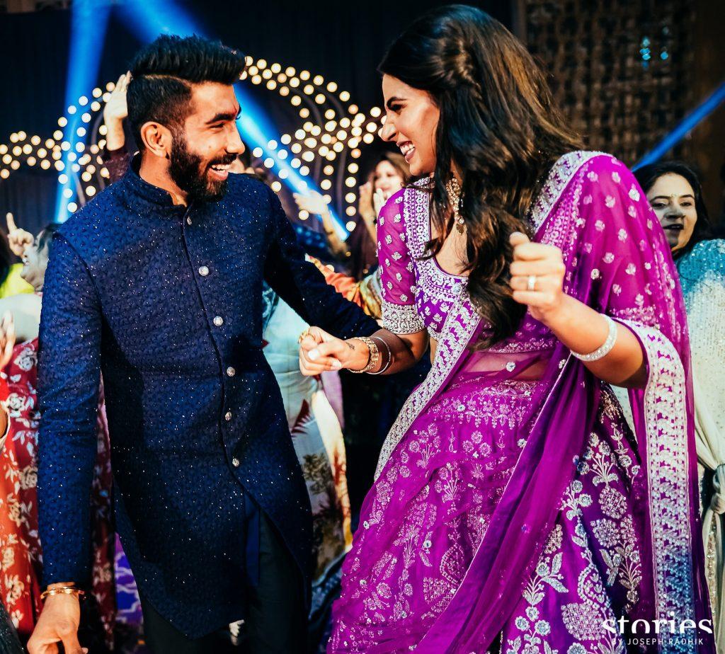 Sports Presenter Sanjana Ganesan & Indian Cricketer Jasprit Bumrah Sangeet pictures