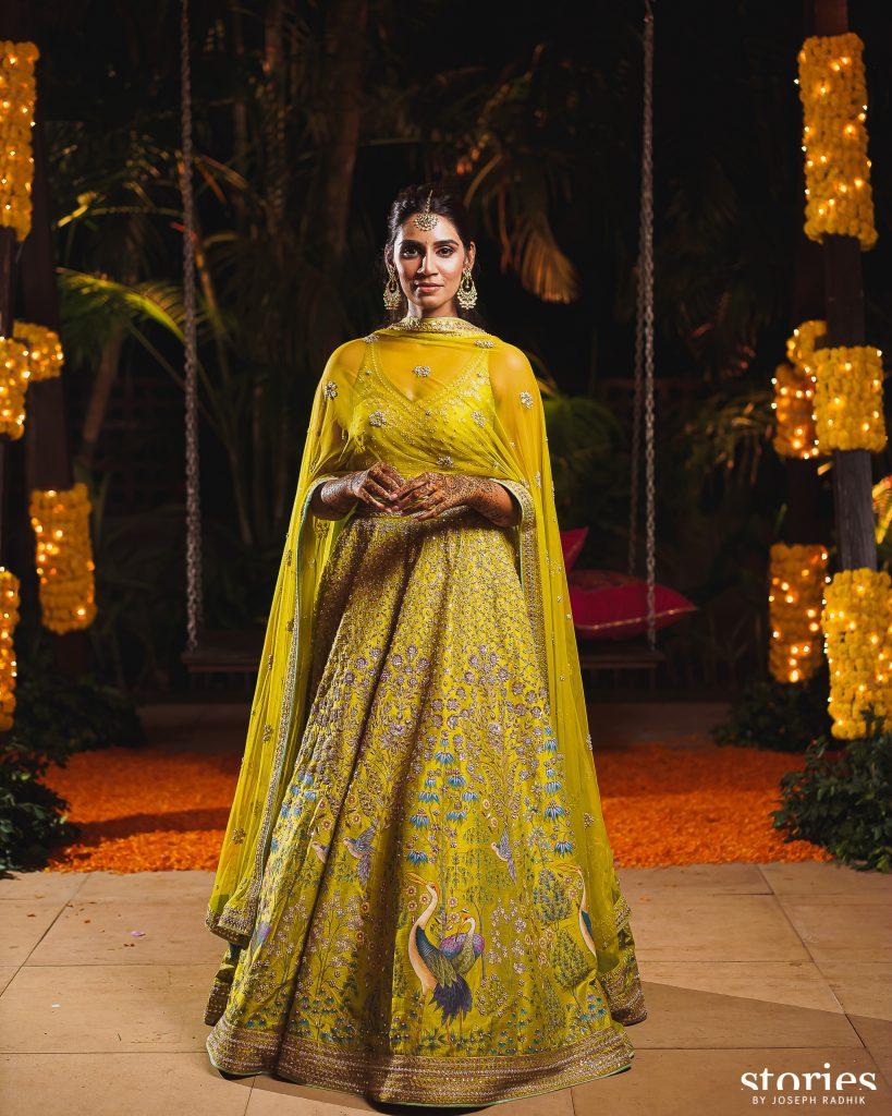 Sanjana Ganesan in Anita Dongre & Anita Dongre Pinkcity for her Mehndi Ceremony