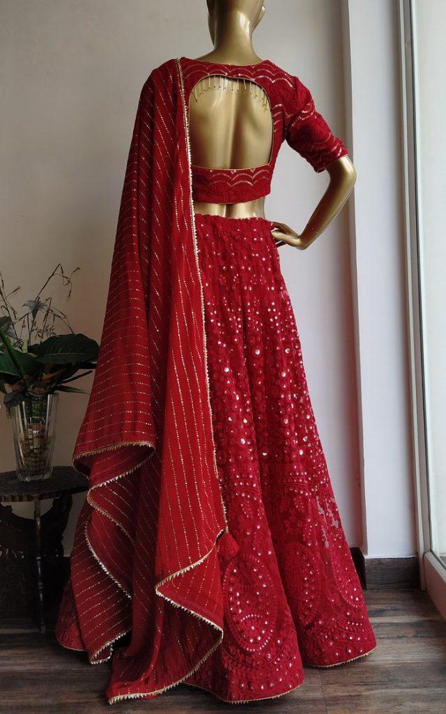 Red Net Bridal Lehenga Online