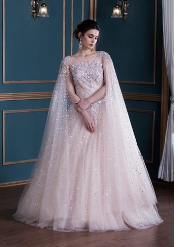 Pink Long Sleeve Gown online in India