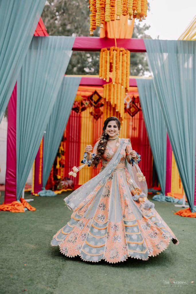 Sikh bride twirling shot