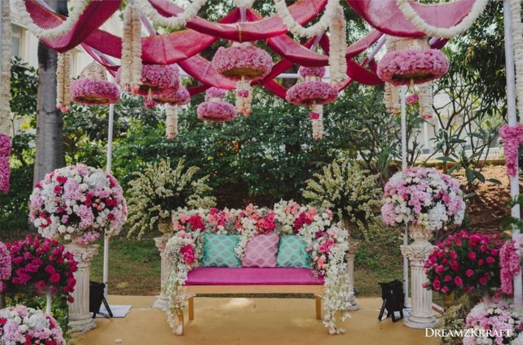 floral seating for less wedding decor budget