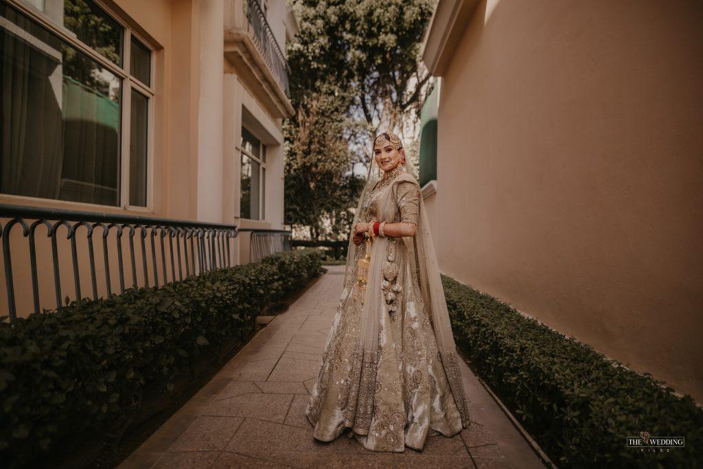 Delhi bride in olive green lehnga