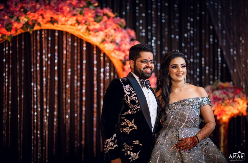 Indian bride & groom in most stunning outfits for engagement