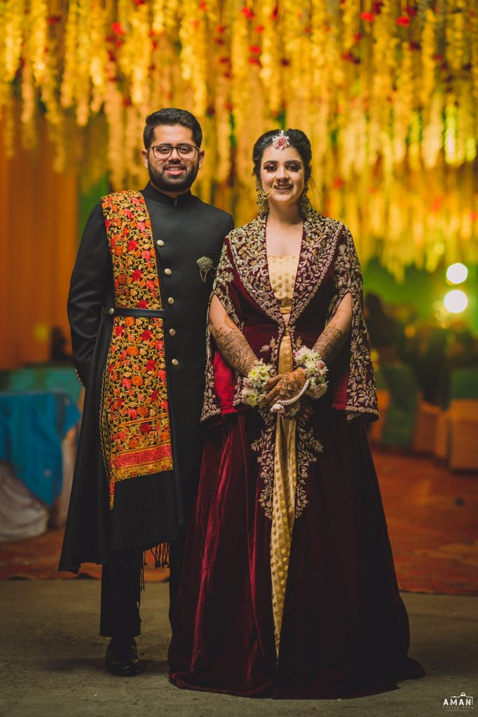 Indian bride & groom mehendi outfits