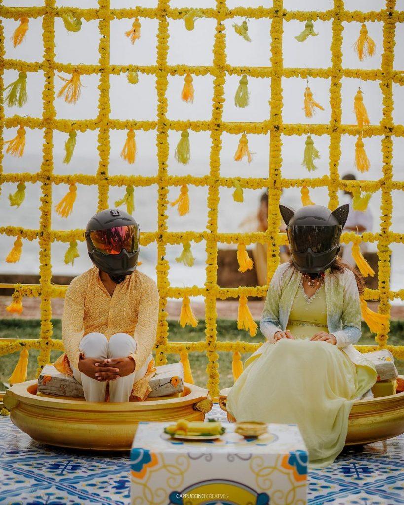 mysterious couple Haldi