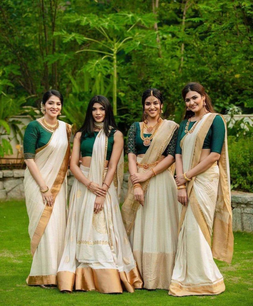 South Indian Bridesmaids In Kasavu Saree