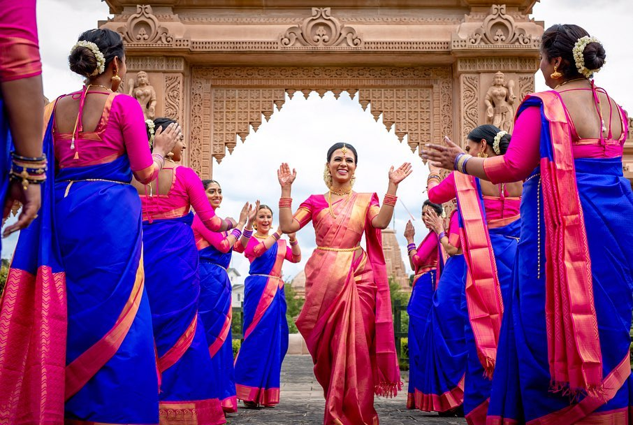 Indian bridesmaids color-coordinated outfits